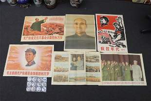 6 propaganda posters and 12 porcelain small dishes