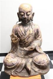 Important Chinese painted & gilt cast iron Buddha