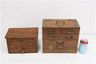 a wood box and a miniature chest of drawers
