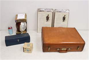 Leather suitcase, signed football, Dunhill prints &