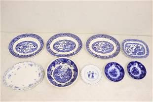Lot of b&w flow blue porcelain pieces