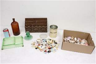 Shell collection, buttons, old medicine bottle, & more
