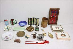 Miniature antique oil lamp, panel of medals, etc