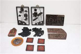 Lot of antique wood carvings, & pr cast iron panels