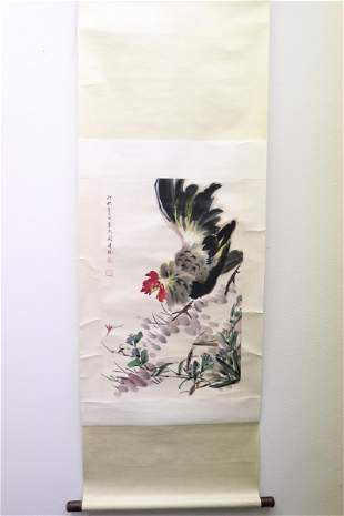 """Chinese watercolor scroll """"rooster"""""""