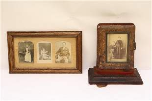 Victorian photo album, and a framed photo panel