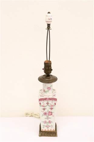 Chinese vintage porcelain vase, made as lamp