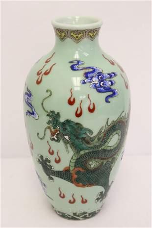 Chinese green background famille rose porcelain vase