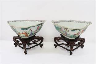 Chinese pair famille rose porcelain bowls w/ stands