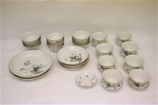 set of Chinese vintage famille rose bowls & plates