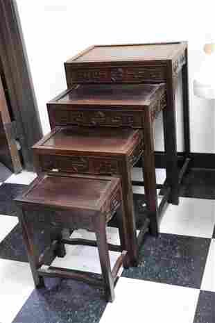 4 Chinese vintage rosewood nested tables