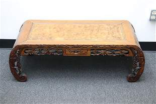 Chinese rosewood instrument table w/ burl walnut top