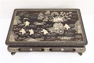 Chinese 19th c. lacquer pedestal table w/ MOP inlaid