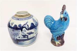 Antique Chinese b&w jar & a vintage rooster
