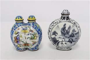 2 Chinese enamel on copper snuff bottles