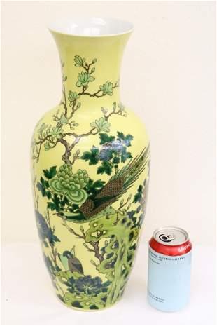 Chinese yellow background famille rose vase