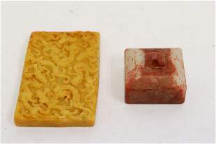 A jade seal and a jade plaque