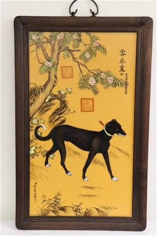 Framed porcelain plaque with print decoration