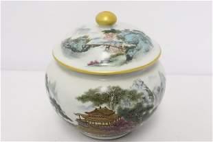 Fine Chinese famille rose porcelain covered jar