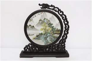 Fine Chinese famille rose porcelain plaque on stand