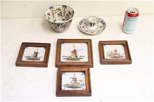 6 vintage Dutch Makkum porcelain pieces