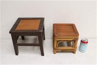 Chinese wood and bamboo stool, & a bamboo stool