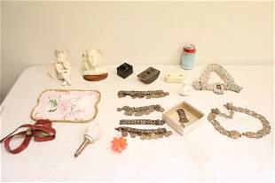 Porcelain sculptures, metal belt, antique desk item
