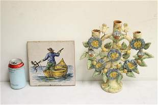 Italian terracotta candelabra, & a Spanish painted tile