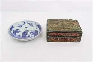 antique b&w small plate, & antique cinnabar box