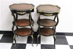 Pair French boule 3-tier stand with bronze ormolu