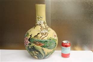 Chinese famille rose porcelain bottle vase