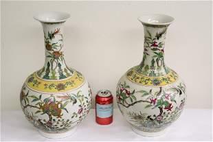 Fine pair Chinese famille rose porcelain bottle vase