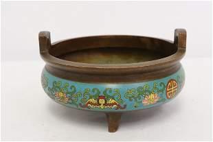 Chinese bronze censer w/ cloisonne enhancement