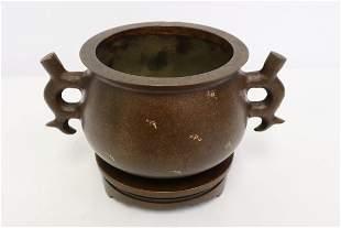 Chinese bronze handled censer w/ bronze stand