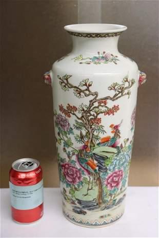 Fine Chinese famille rose porcelain straight vase