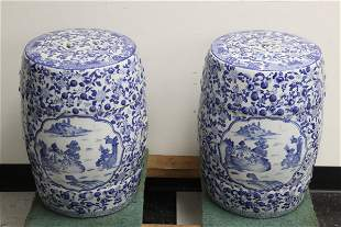 Pair fine blue and white porcelain garden stools
