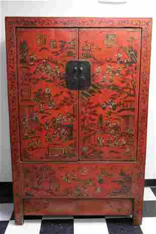 Chinese antique red lacquer on wood cabinet