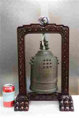 Fine vintage bronze bell on stand