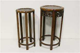 Pr Chinese antique rosewood round stackable stools