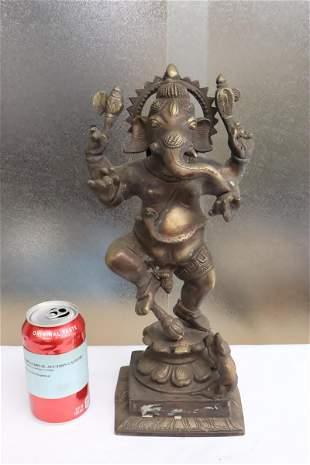 "Fine India bronze sculpture of ganesha, 14.5""H"