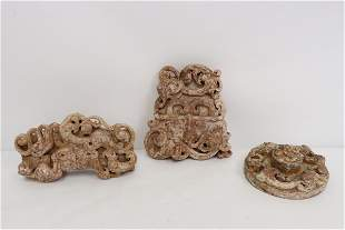 3 large Chinese jade like stone carved ornaments