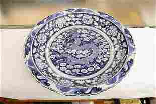Chinese large blue and white porcelain charger
