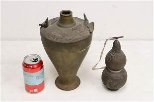 2 pieces; bronze vase and a gourd shape bronze hu