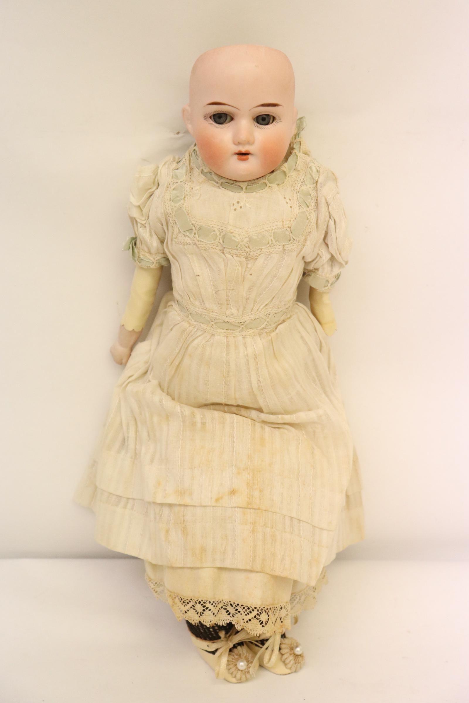 """Antique German bisque head doll, 15"""""""