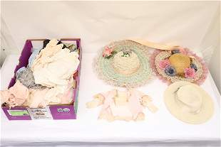Lot of vintage doll clothes, and doll hats