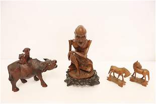 4 Chinese wood carvings