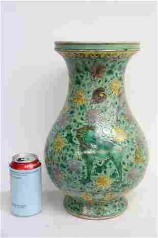 Large Chinese green background famille rose jar