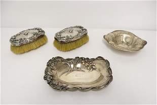 2 art nouveau sterling plates, & 2 sterling brushes
