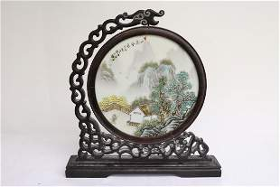 Chinese famille rose porcelain plaque on stand