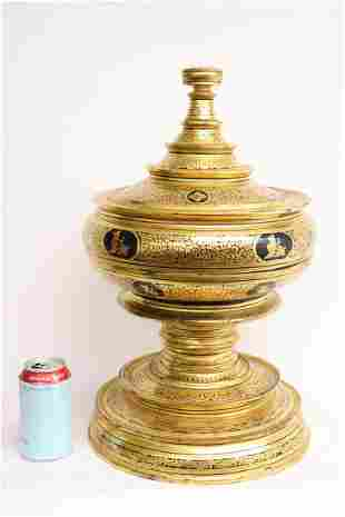 Large South Asia gilt lacquer covered jar